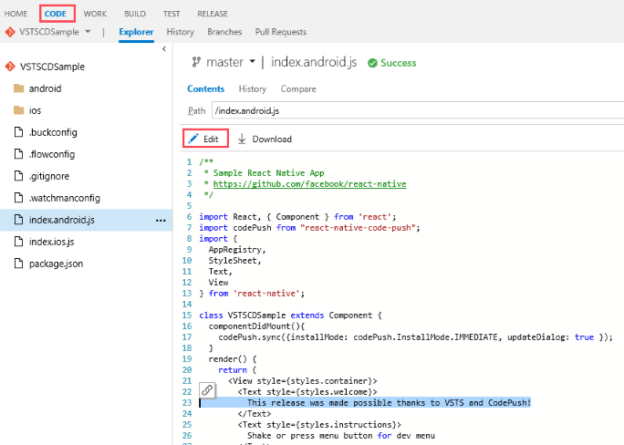 VSTS code changes