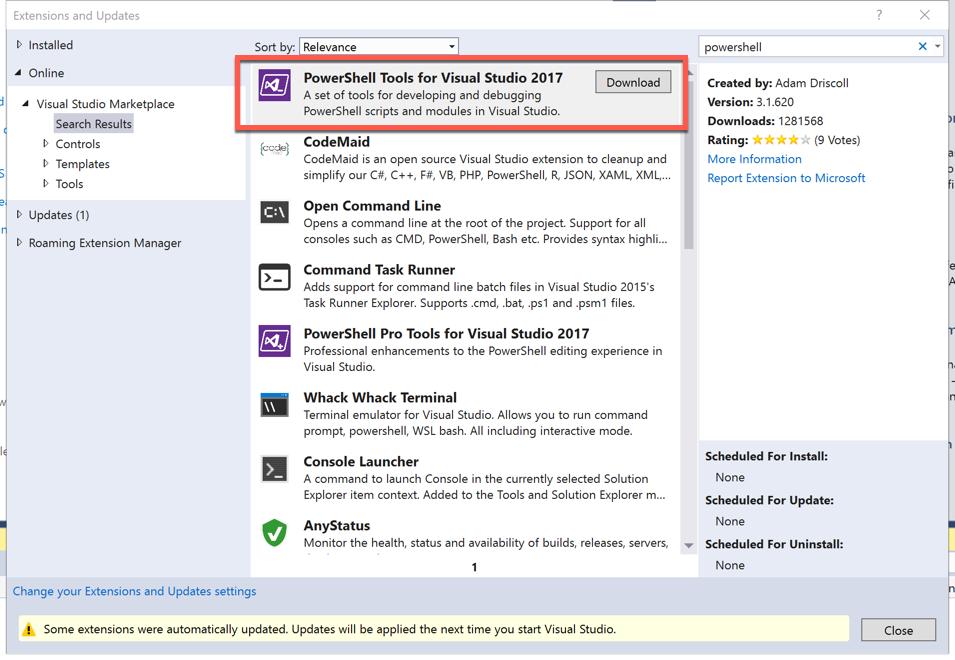 Tip 120 - Run Azure PowerShell Cmdlets in Visual Studio 2017
