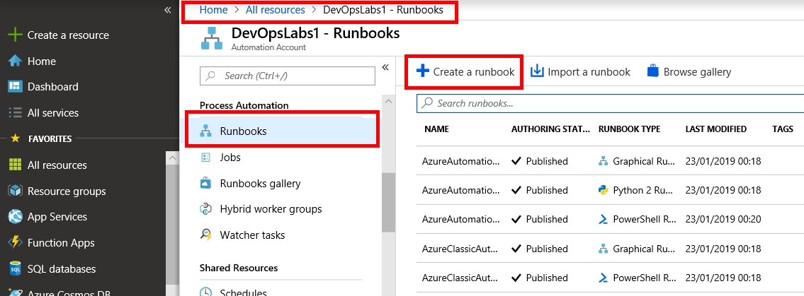 PartsUnlimited : Azure Automation Runbook Deployments