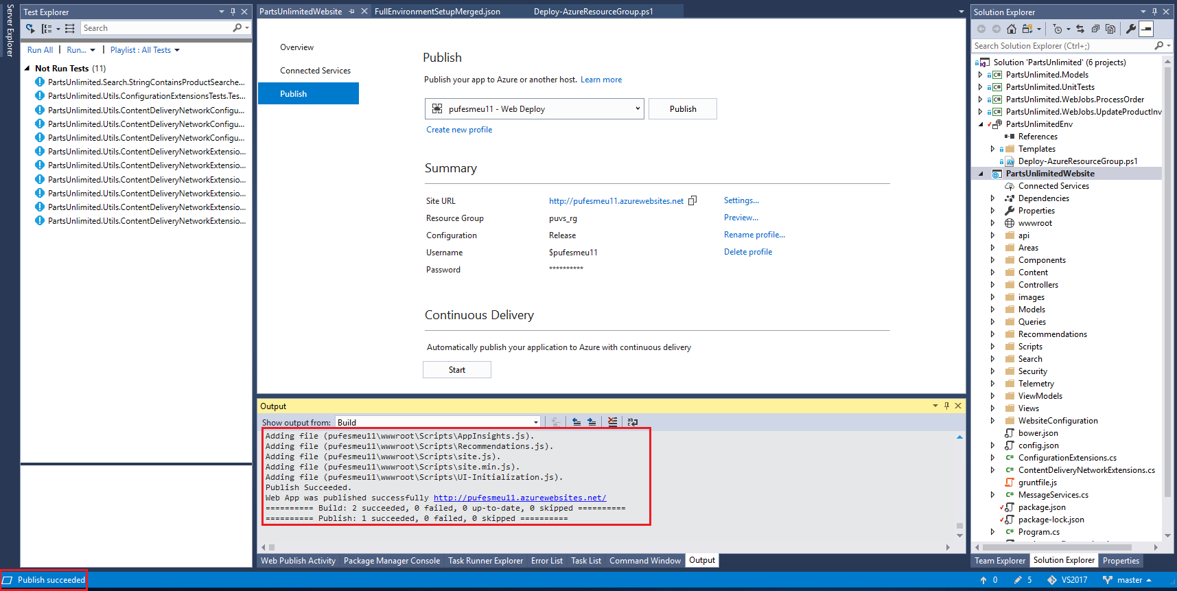 PartsUnlimited : PartsUnlimited Manual Deployment to Azure