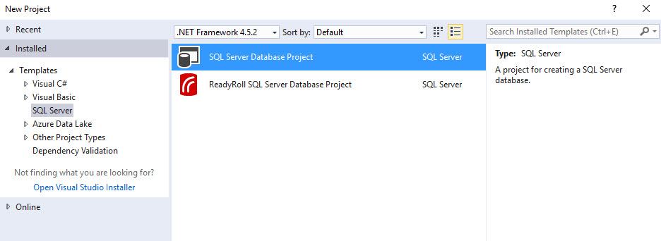 PartsUnlimited : Setup SSDT and Sample db with Visual Studio and VSTS
