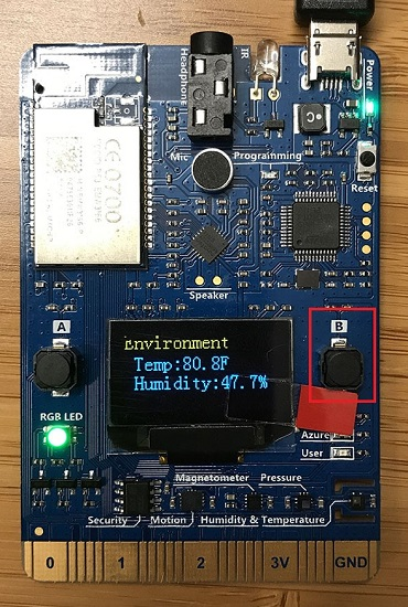 Button B and sensor display