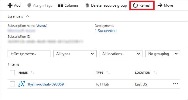 The Azure Portal's Resource Group indicates that the IoT Hub deployment completed successfully.