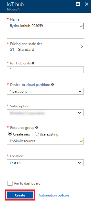 The Azure Portal's IoT Hub Configuration pane shows relevant configuration settings.  The pricing tier is set to S1, and a single unit of IoT Hub and 4 Device-to-cloud partitions are entered.