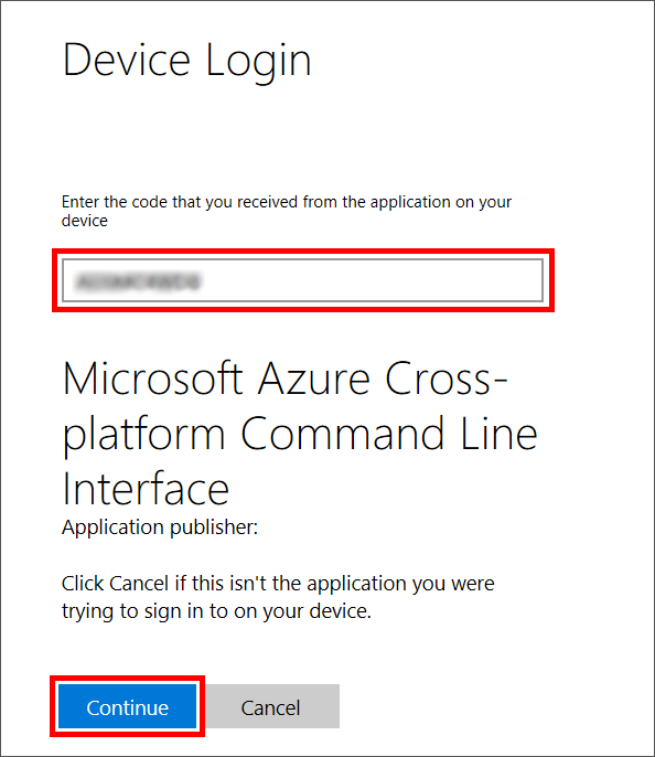 An Azure CLI device login screen with an indication of where to enter a device authorization code.