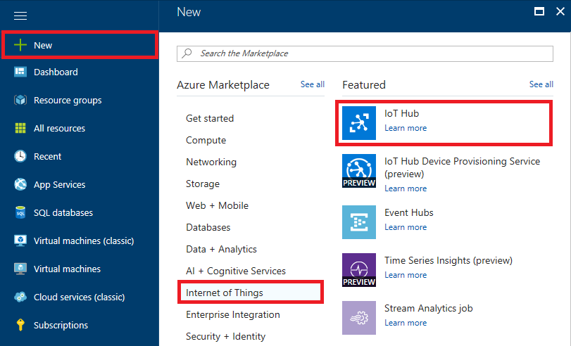 The Azure Portal quick start menu shows the selection to add a new IoT Hub to a subscription.