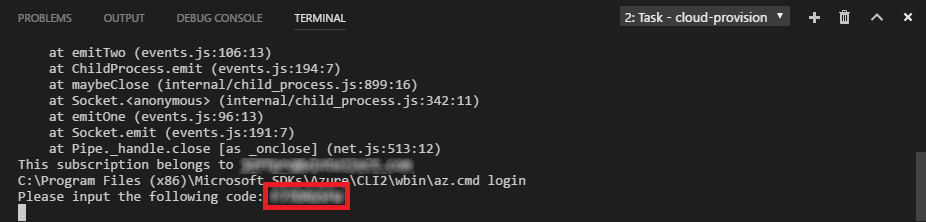 A VSCode terminal is displaying a device login code as the result of running the 'cloud-provision' task.