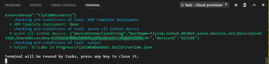 The VSCode terminal window is displayed showing the results of running the 'cloud-provision' task.