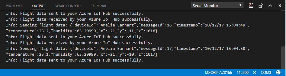 A VSCode terminal window displays the telemetry data generated by the MXChip.