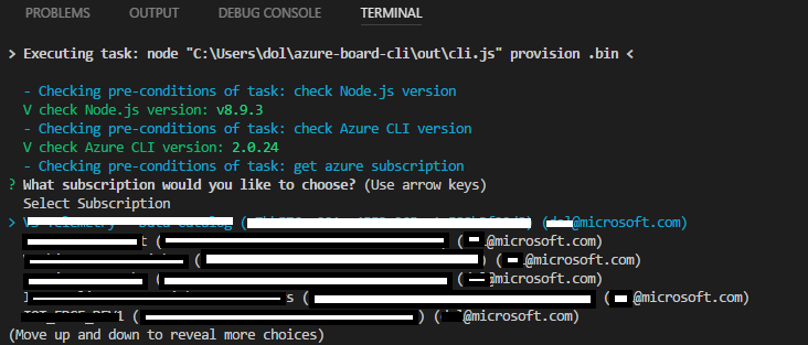 Select Azure subscription