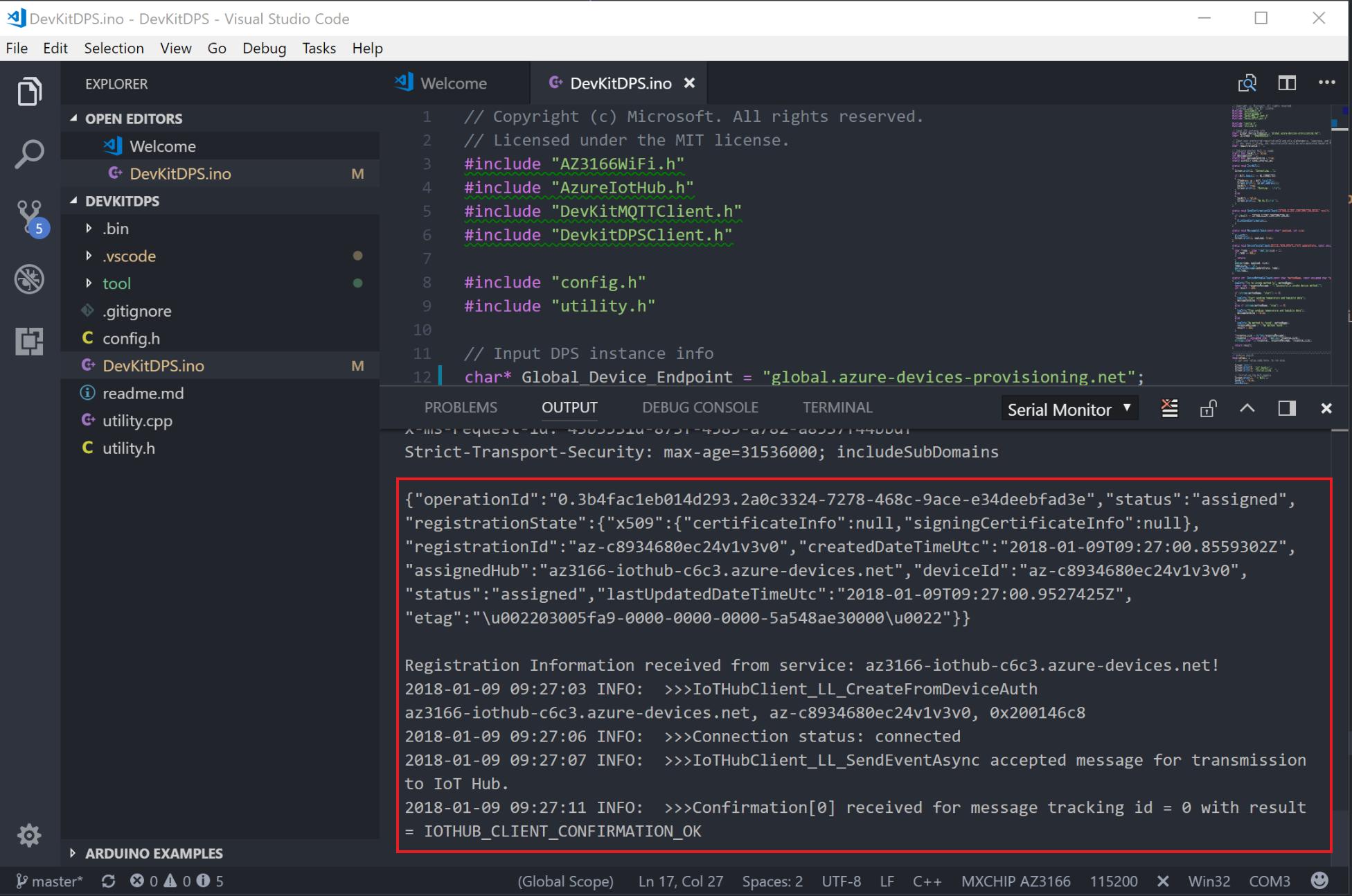 VS Code output