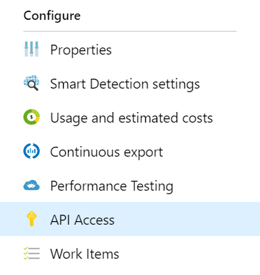 Screenshot highlighting the API Access tab in an Application Insights resource