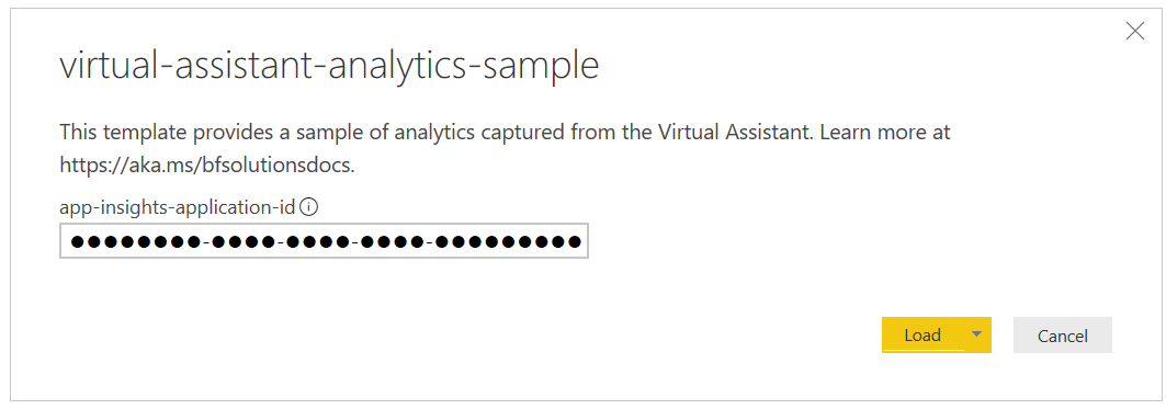Screenshot of the load template view of a new Virtual Assistant analytics Power BI template