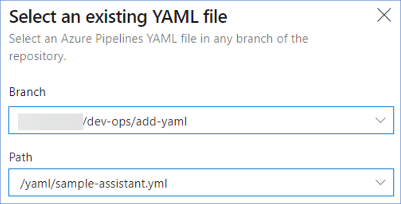 Select an existing YAML file