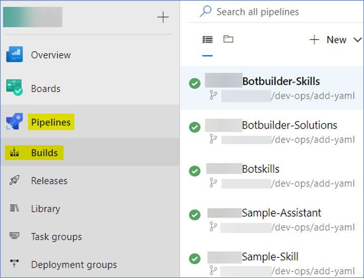 Screenshot highlighting how to access Builds on Azure Pipelines