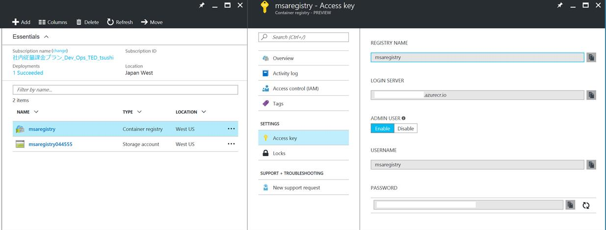Screen shot of setting up Azure Container Registry