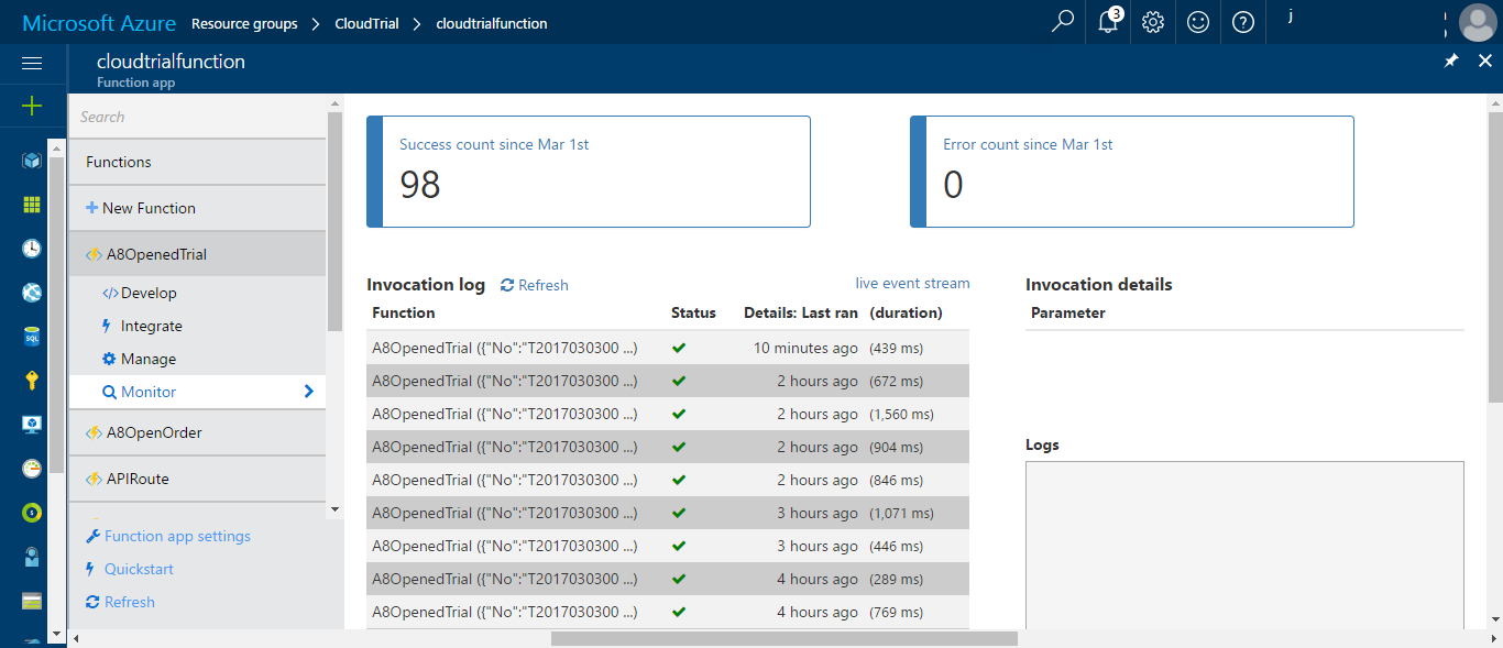 Monitoring Azure Functions in Azure portal