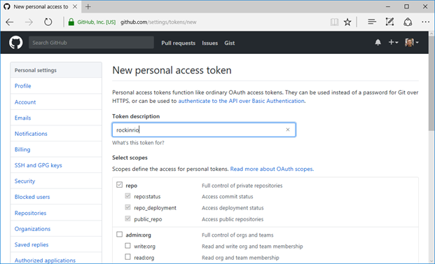 Figure 6 - Creating a GitHub personal access token