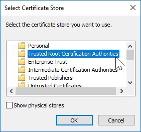 Install certificate - store