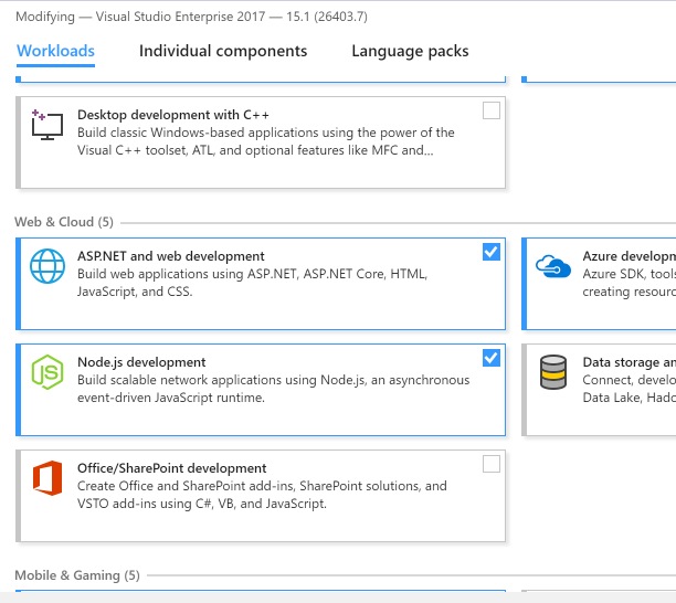 Visual Studio Workloads step 1