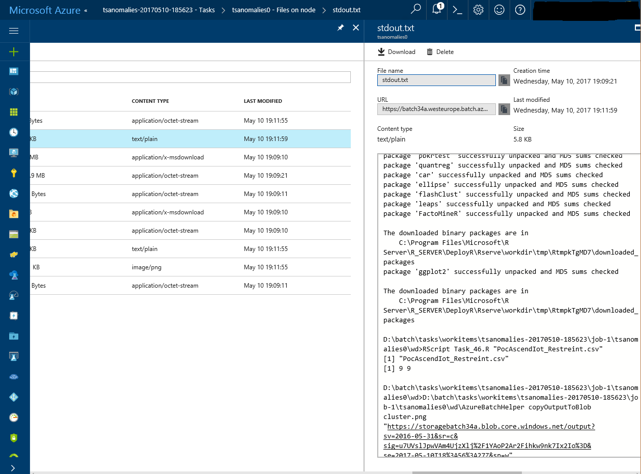 Batch - see execution log from Azure portal