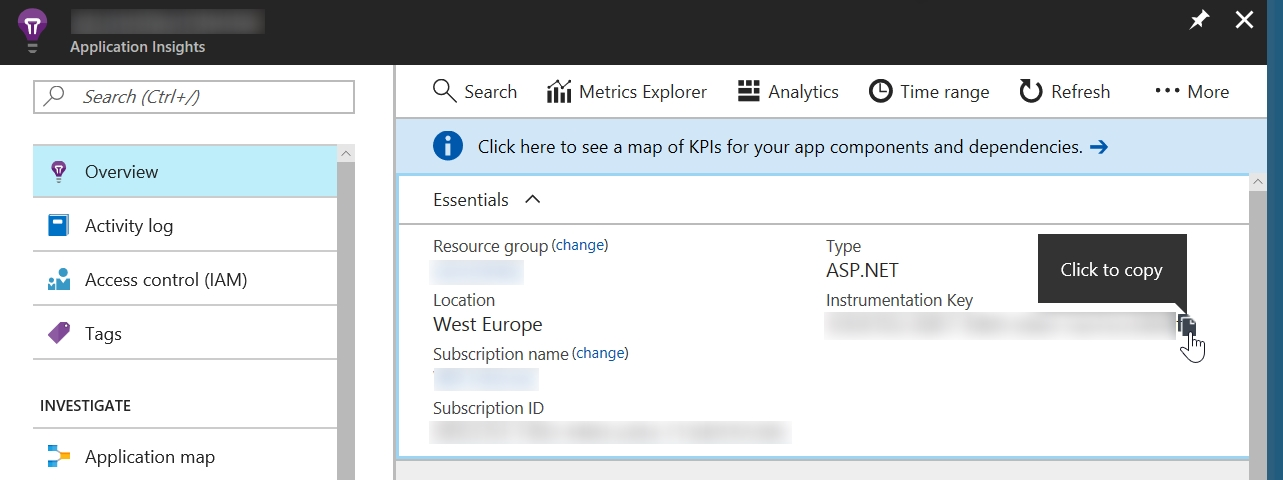Application Insights instrumentation key