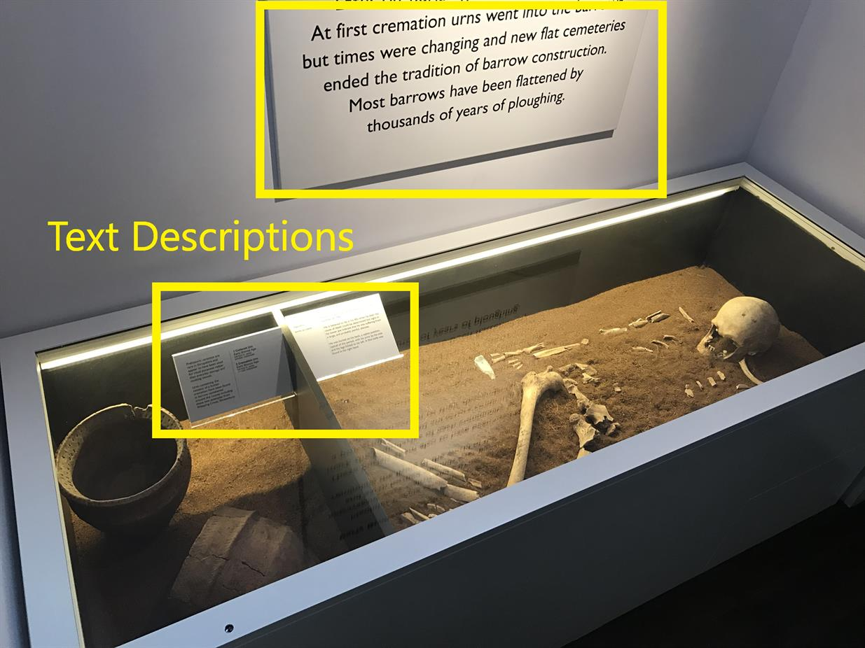 An exhibit with a printed text description