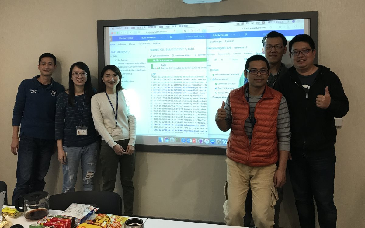 Photo of core team in front of projected computer screen