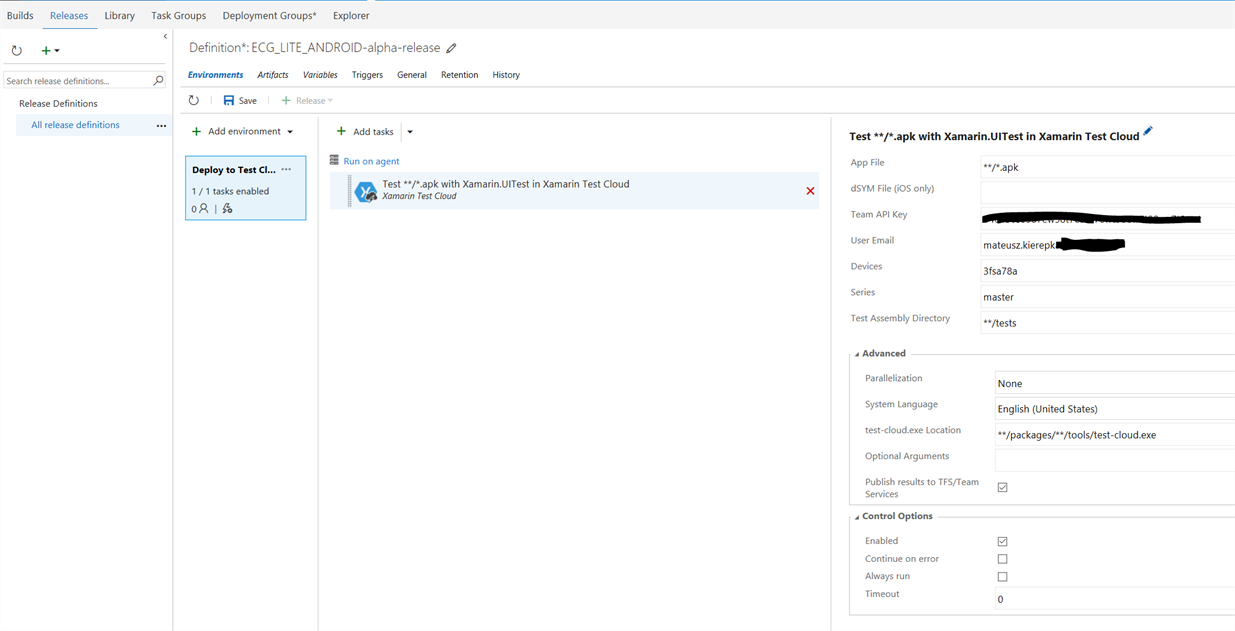 Release definition with Deploy to Test Cloud task