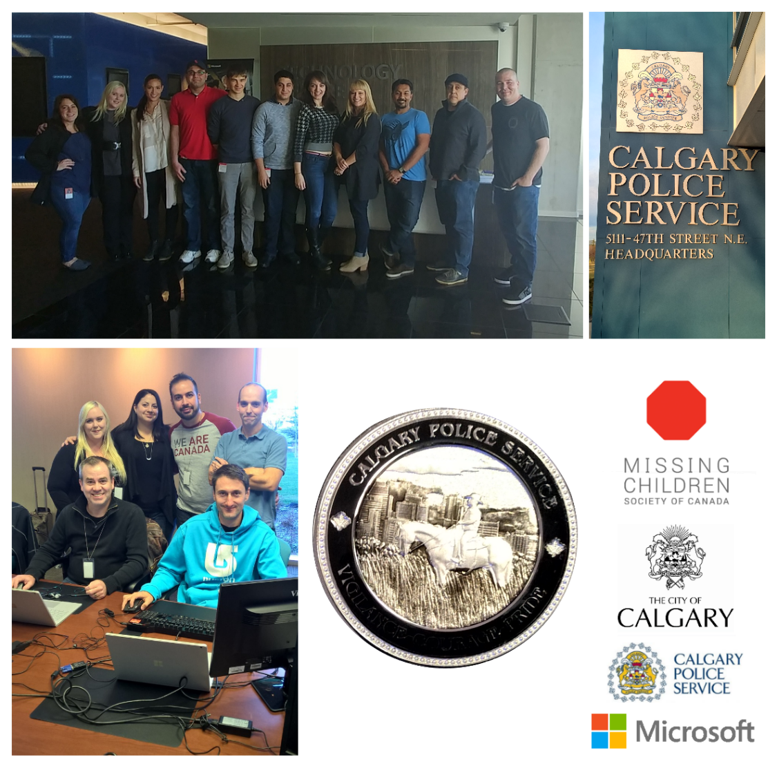 Photo montage: team members; sign, badge, and logo of Calgary Police Service; logos of MCSC, City of Calgary, and Microsoft