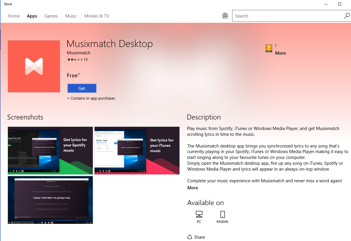 Bringing Musixmatch to the Windows Store by using Desktop