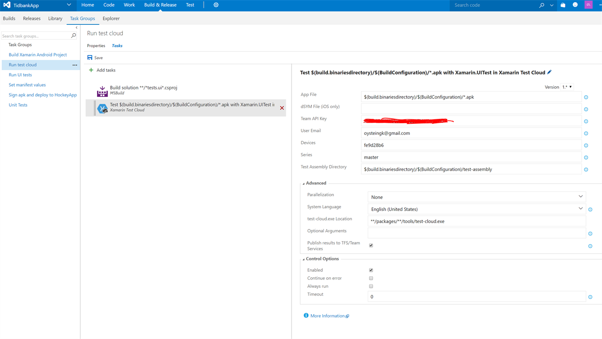 Image of the setup of test cloud in VSTS