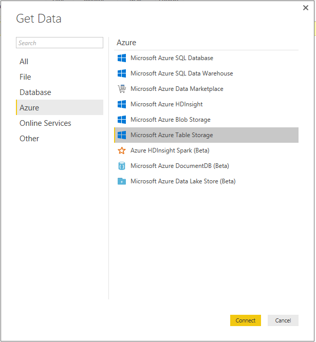Selecting Azure Table storage in the Get Data dialog box