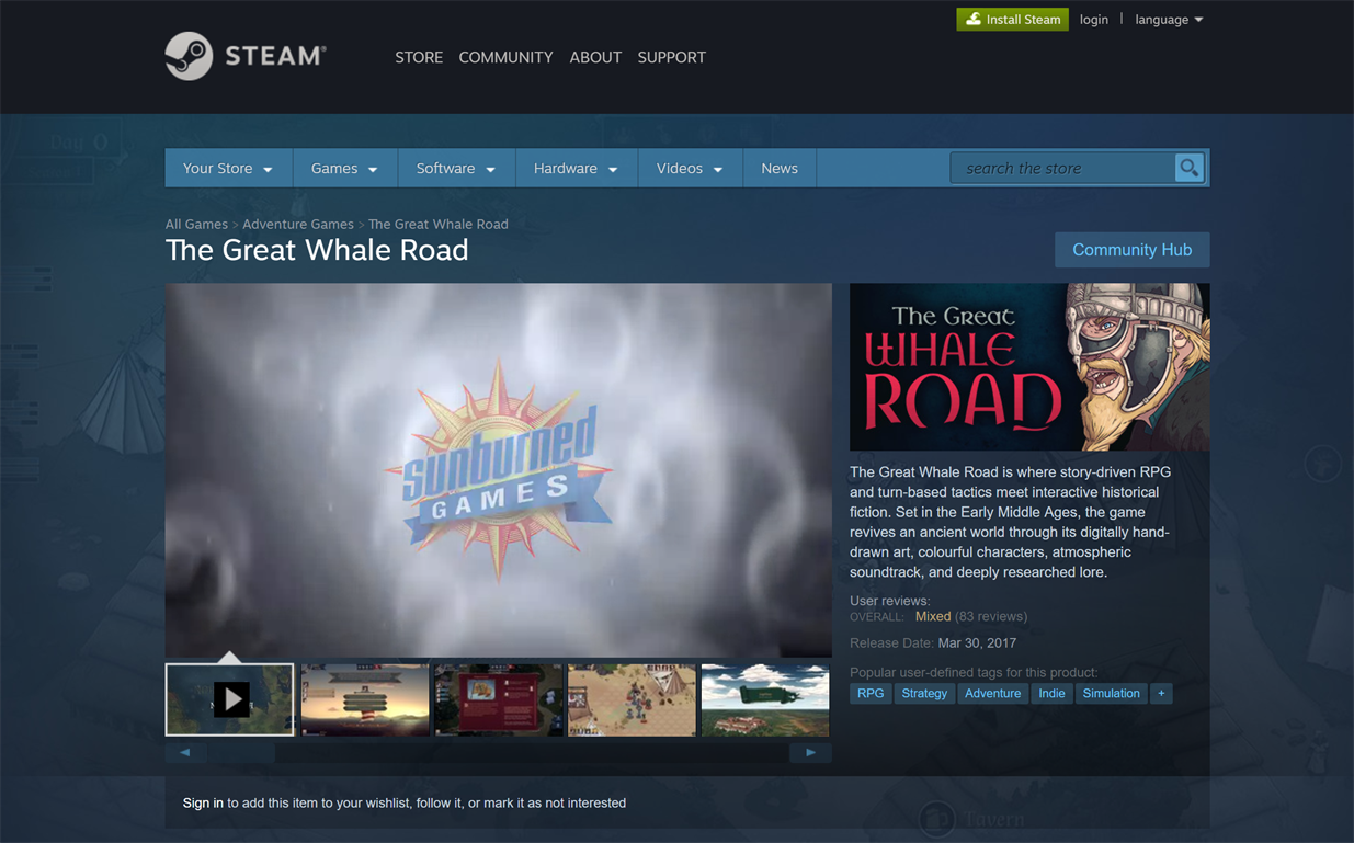 The Great Whale Road in the Steam store