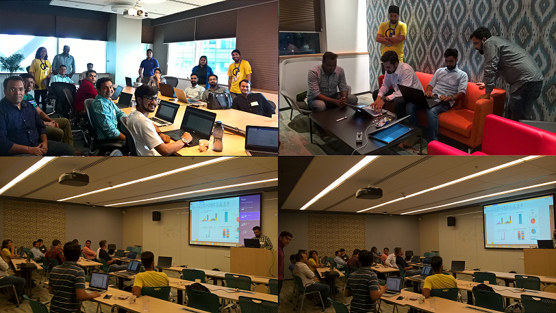 Montage of four photos from the hackfest