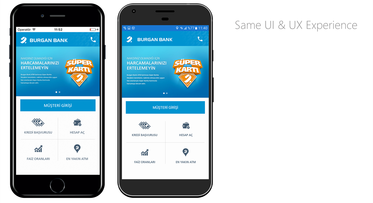 Burgan Bank Mobile Application with same UI on Android and iOS