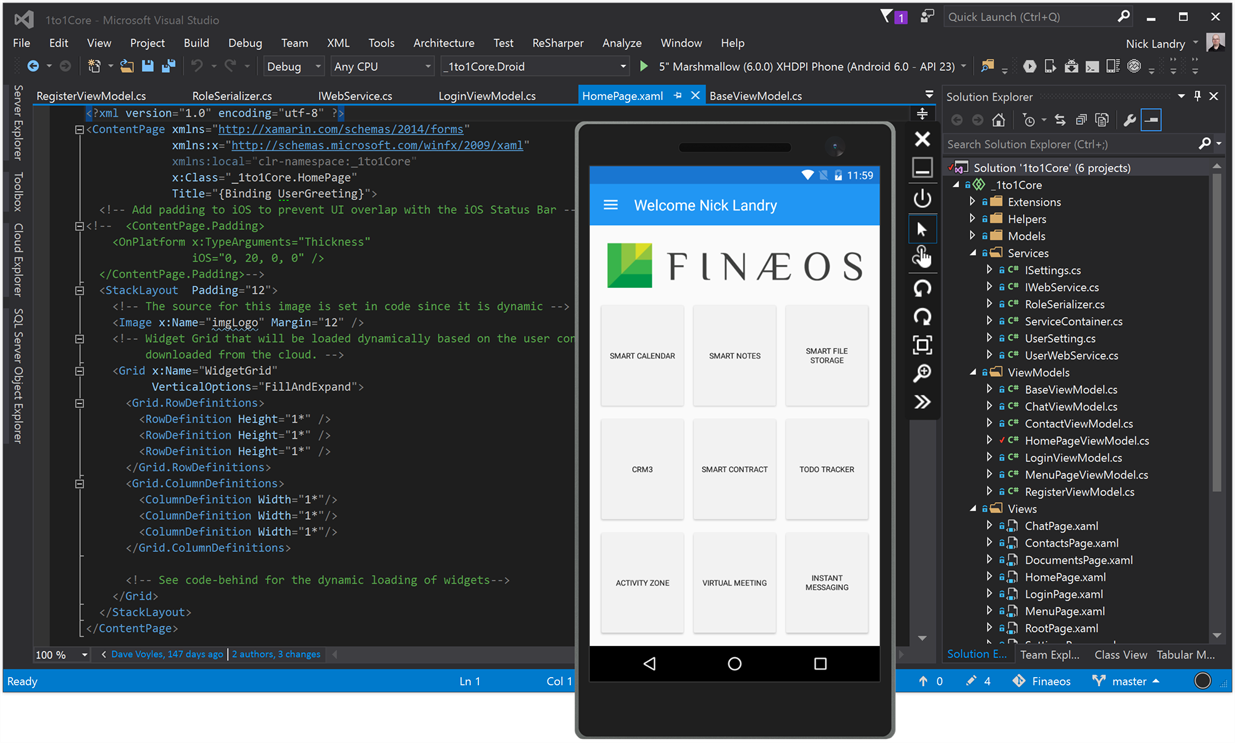 Screen shot of Finaeos dynamic home screen