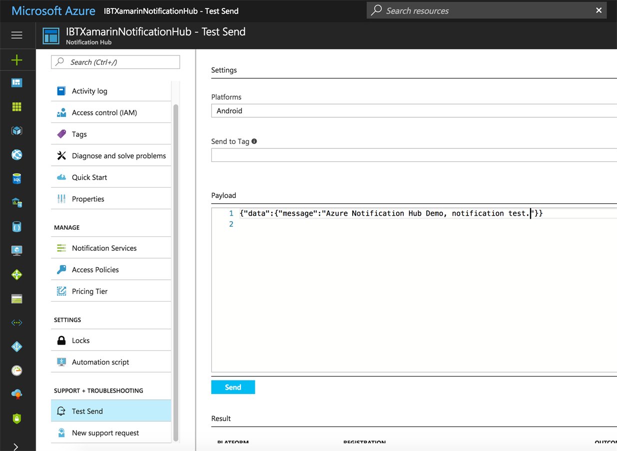 IBTech VMobile Xamarin Mobile Application - Azure Notification Hubs - Test