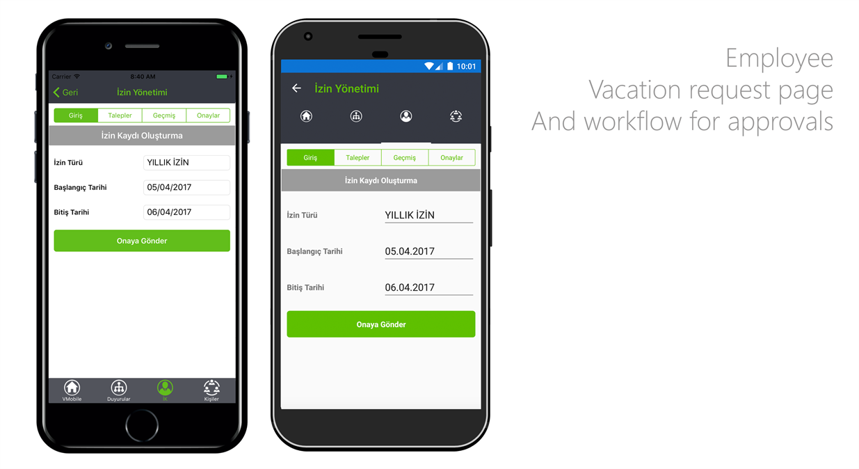 IBTech VMobile Xamarin Mobile Application - Vacation Request and Management UI
