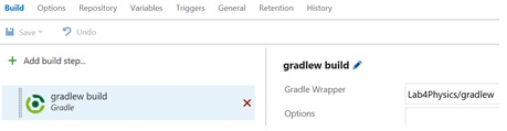 Figure 9: Gradle build step definition