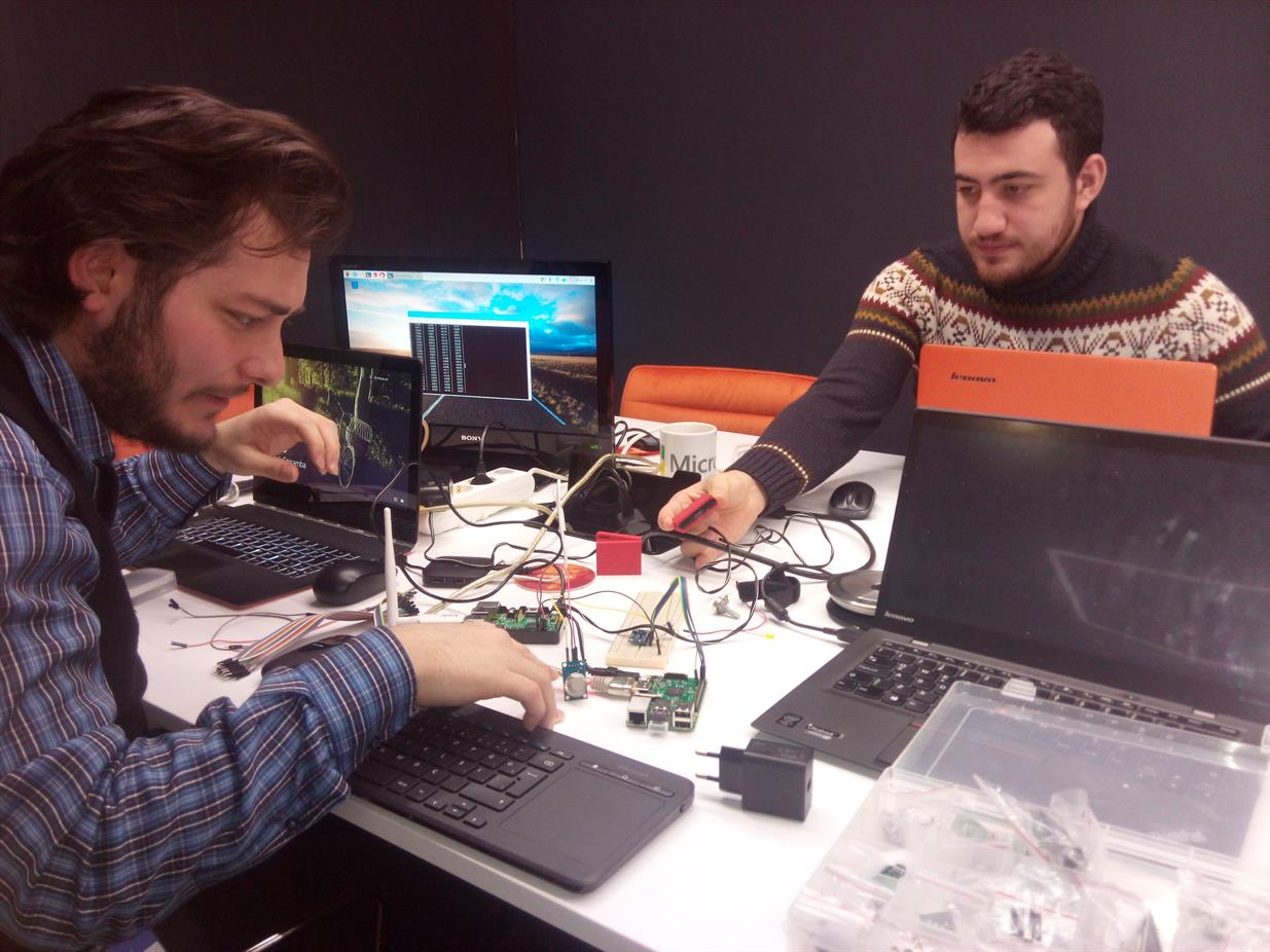 Team working with IoT devices