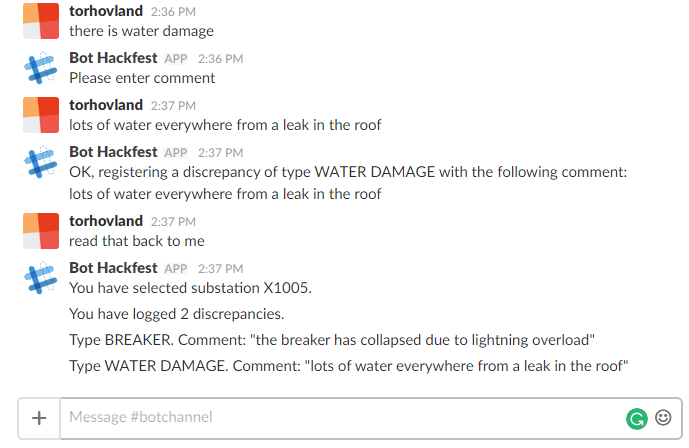 Screen shot of conversation with bot in Slack