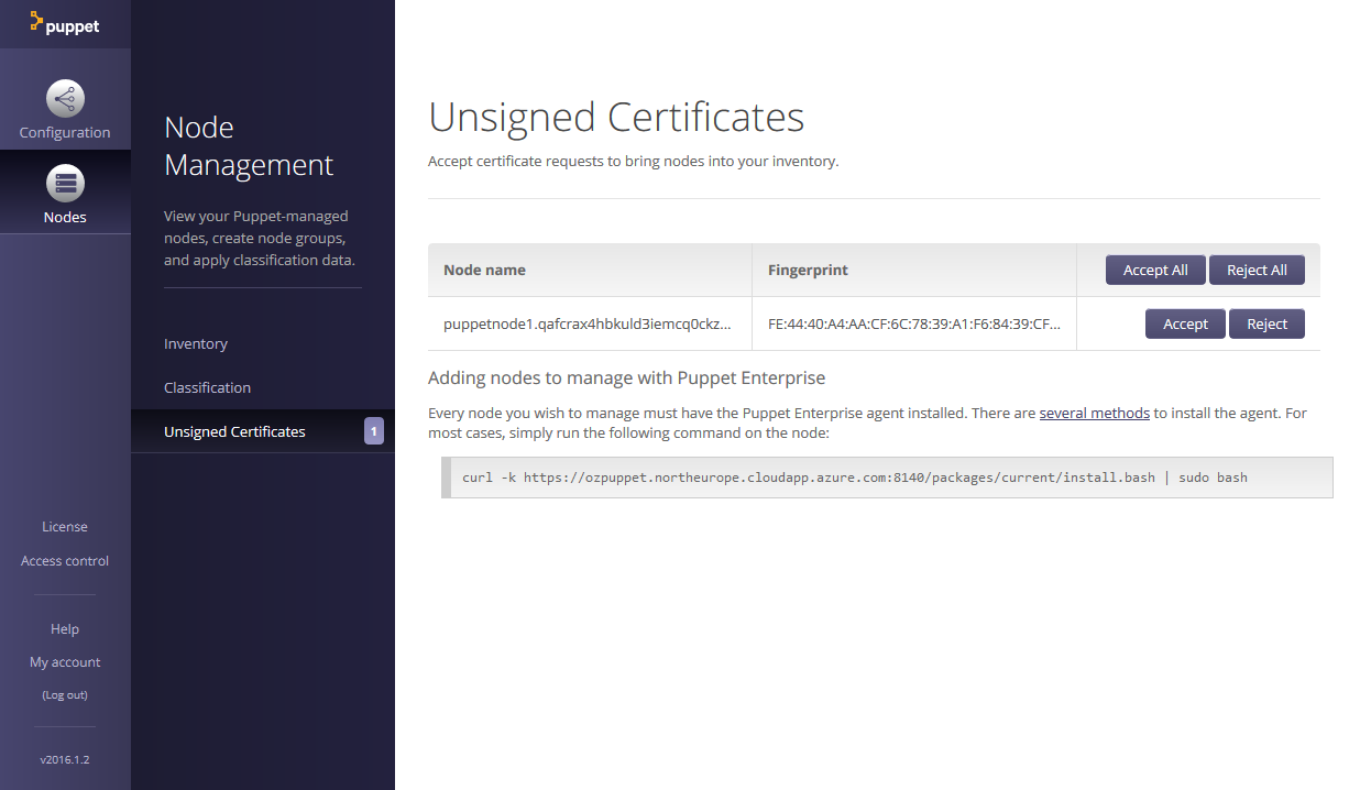 Puppet console displaying unsigned agent certificates