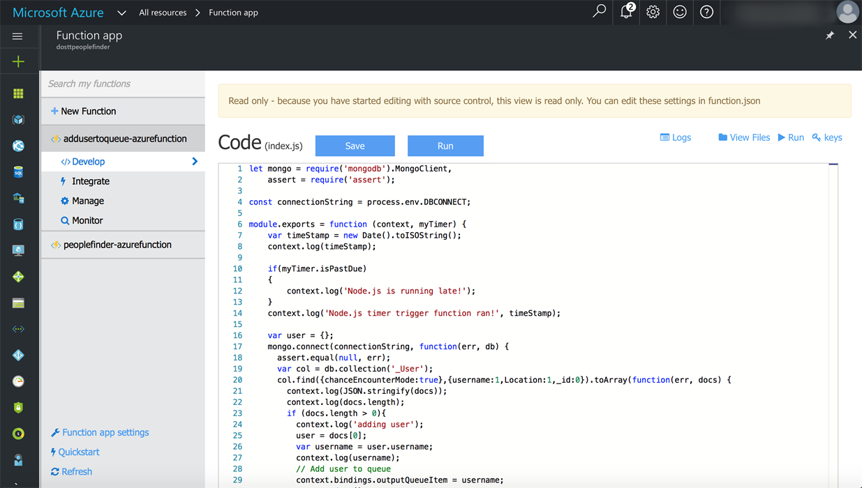 Node.js Function in Azure Portal